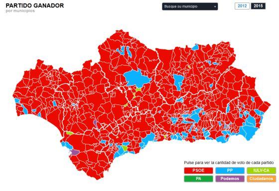 La situazione in Andalusia dopo le elezioni municipali del 2015