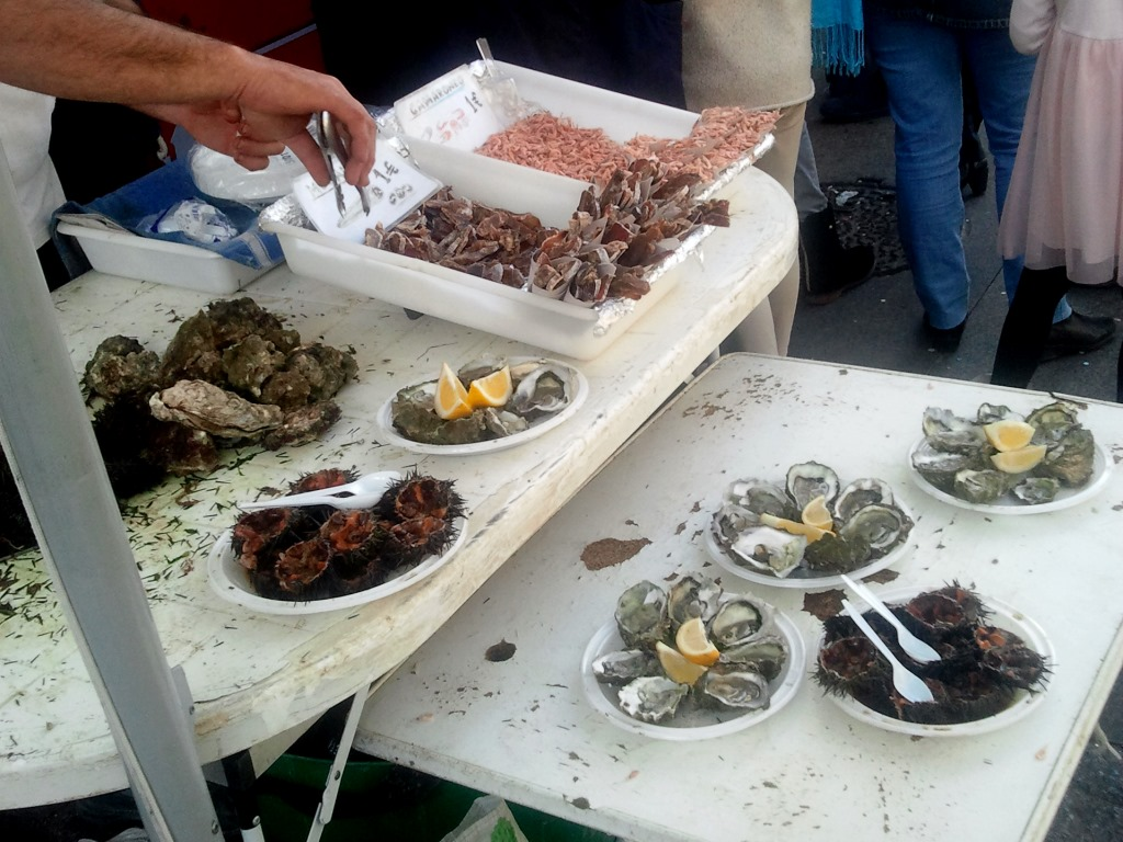 Street Food a Cadice: Erizos, Ostiones, Mojama e Camarones.